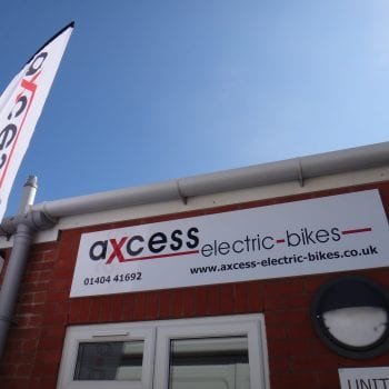 Axcess Electric Bikes welcome sign