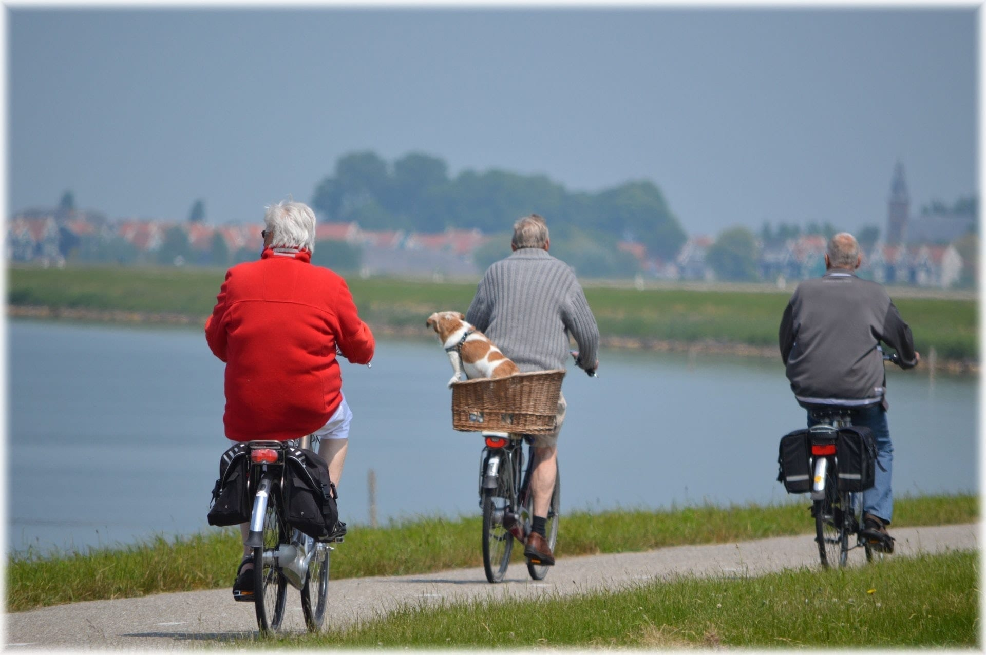 elderly cyclists electric biking