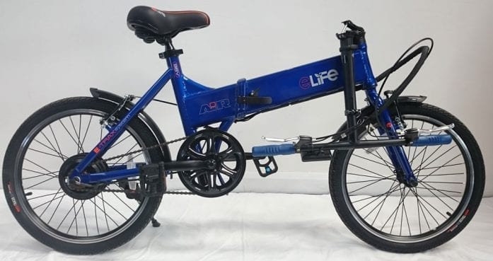 eLife Air blue with the handlebars folded
