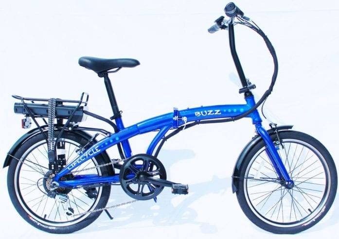 Lifecycle Buzz folding ebike blue