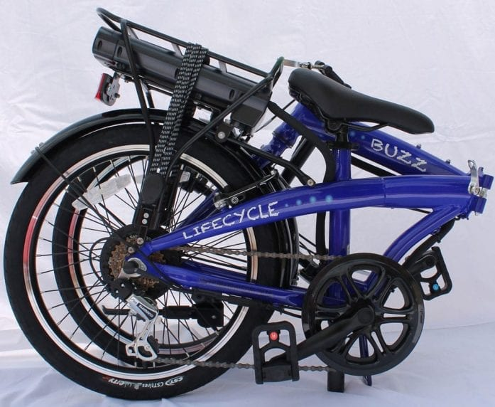 Lifecycle Buzz Blue folding bike folded to its smallest size