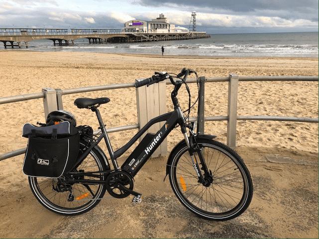 Axcess Hunter2 stepthrough grey at Bournemouth beach